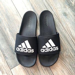 Adidas logo men's black white slide sandals 12
